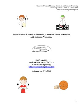 Board Games Related to Memory, Attention, and Sensory Processing