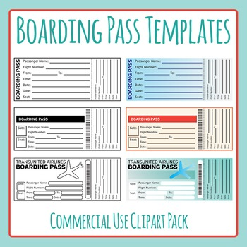 Boarding Pass Templates Clip Art for Commercial Use - Grea