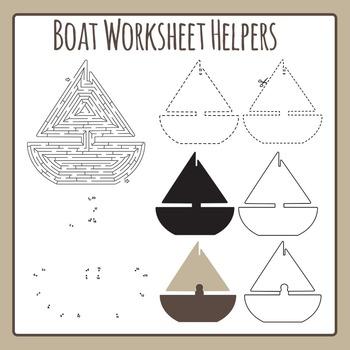 Boat Worksheet Helpers - Maze, Dot to Dot, etc - Commercia