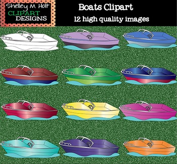Boats Clipart - Color and Black line