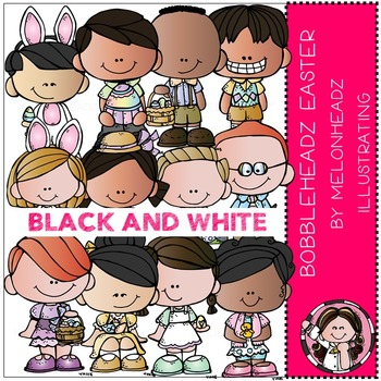 Melonheadz: Easter clip art - Bobbleheadz - BLACK AND WHITE