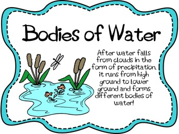 Bodies of Water Lesson, Power Point Presentation, and Cros