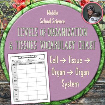 Body Organization Vocabulary Chart: Cells, Tissues, Organs