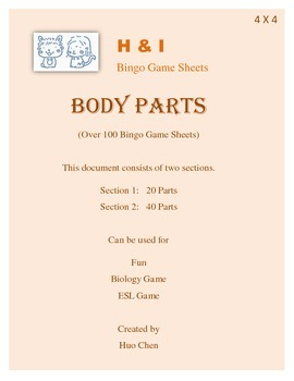 Body Parts Bingo Game (H&I Bingo Game Sheets) - 4 X 4