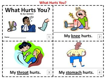 Body Parts What Hurts You? 2 Emergent Reader Booklets - ENGLISH