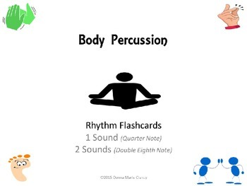 Body Percussion Performance Flashcards: Rhythm: 1 Sound, 2 Sounds