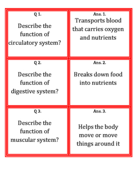 Body System Fan and Pick Cards with Answers (Kagan's Struc