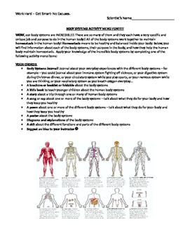 Body Systems Activity Menu