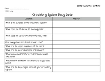 Body Systems: Circulatory, Digestive & Respiratory Study G