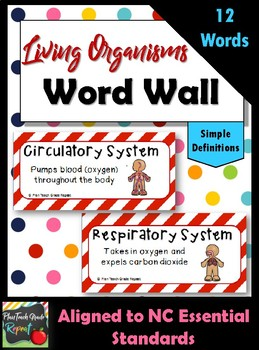 Body Systems & Living Organisms Word Wall