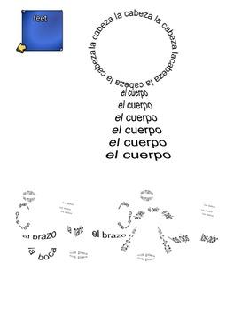 Spanish Body parts vocabulary SmartBoard  - Body parts mad