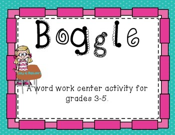 Word Work Center: Boggle