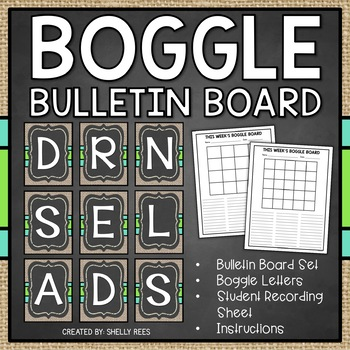 Boggle - Chalkboard and Burlap Packet - Bulletin Board Set