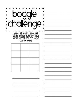 Boggle Challenge Workpage