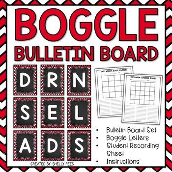 Boggle - Chevron and Chalkboard Packet - Bulletin Board Se