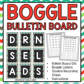 Boggle - Lime & Teal Chevron Chalkboard Packet - Bulletin