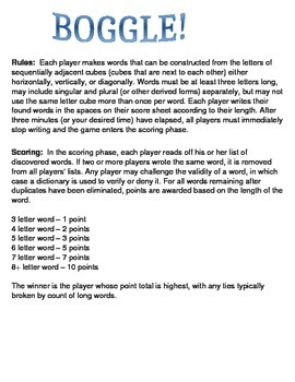 Boggle - Rules and Score Sheet