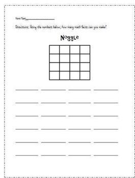 Boggle and Noggle Worksheets