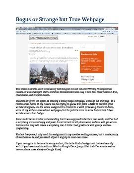 Bogus or Strange but True Webpage