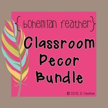 Bohemian Feather Classroom Decor Bundle