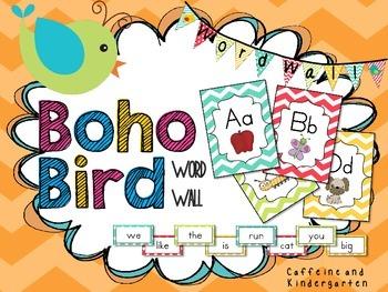 Boho Bird Inspired Word Wall Brights