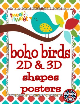 Boho Birds 2D Shapes Posters