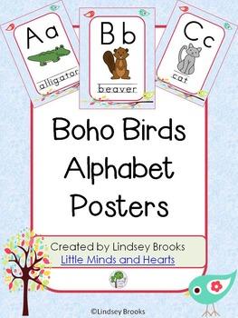 Boho Birds Alphabet Posters