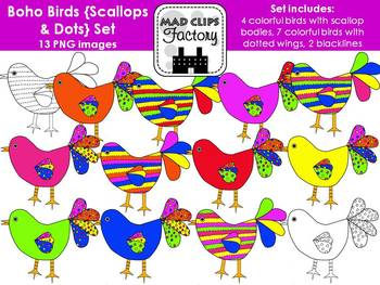 Boho Birds {Scallops & Dots}