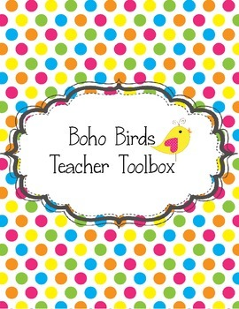 Boho Birds Teacher Toolbox Green Yellow Pink Blue Purple P