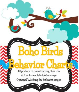 Boho Birds Theme Behavior Tracking Chart