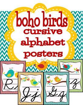 Boho Birds Theme Cursive Letters Posters