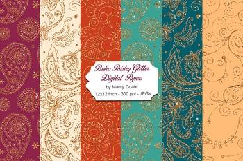 Boho Paisley Glitter Backgrounds & Digital Papers