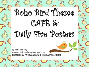 Boho birds Daily five & CAFE posters