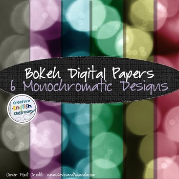Bokeh Digital Paper Pack -- 6 Monochromatic Pages