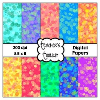 Bokeh Digital Background Papers {8.5 x 11} Clip Art CU OK