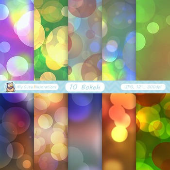 "Bokeh digital paper: ""COLORFUL BOKEH"" bright sparkles, chr"