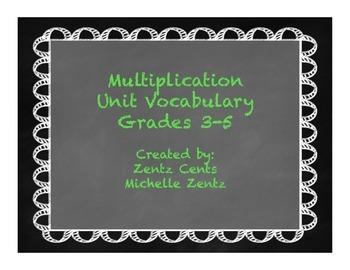 Bold Chalkboard Multiplication Vocabulary Posters