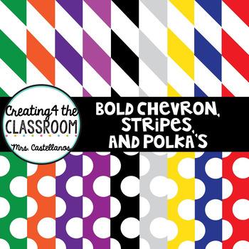 Bold Chevron, Stripes and Polka Dots Paper (Digital Paper)