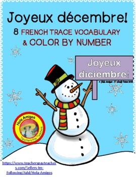 Joyeux décembre! - December French color by number (3 pages)