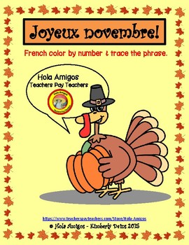 Joyeux novembre! - French November color by number (3 pages)