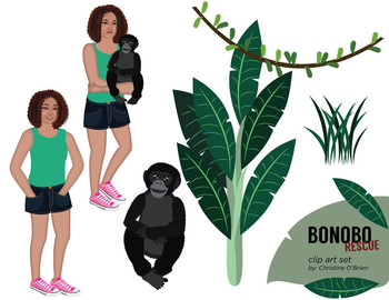 Bonobo Monkey Rescue Clip Art Set