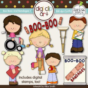 Boo Boos And Bandages 1-  Digi Clip Art/Digital Stamps - C