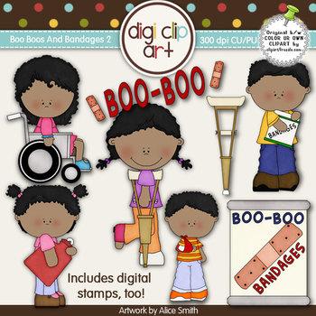 Boo Boos And Bandages 2-  Digi Clip Art/Digital Stamps - C