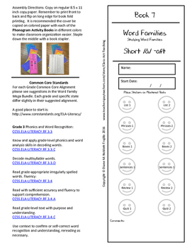 Book 7 Short /ă/ - aft Word Families for k-6 Grades and In