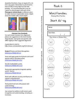 Book 8 Short /ă/ - ag Word Families for k-6 Grades and Int