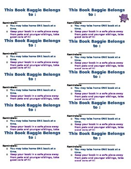 Book Baggie Labels with Rules