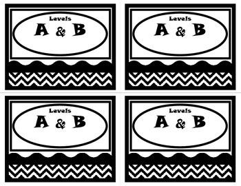 Book Basket Labels-Black and White Chevron