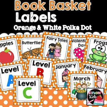 Book Basket Labels {Orange & White Polka Dot} plus Editable Page
