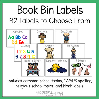 Book Bin Labels Classroom Library