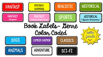 Book Bin Labels Colored Genre